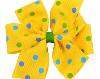 Yellow Bow with Mixed Polka Dots Girls Boutique Boutique Hair Bow