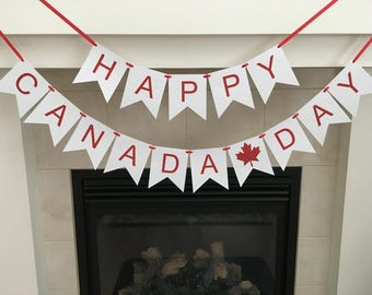 Happy Canada Day Banner, Canada Day Celebration, Red and White, Maple Leaf Banner, July 1st Banner, Photo Prop, Flag Banner, Patriotic