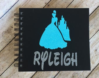 Custom Disney Autograph Book- Personalized-Cinderella and the castle -  Glitter