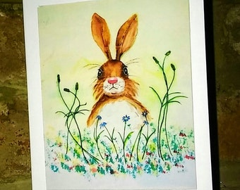 Hare in the Garden Card