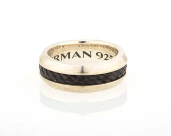 David Yurman Classic Cable Ring With Forged Carbon Cable Band Ring - Size 10.5