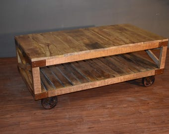 Rustic Reclaimed Industrial Style Solid Wood Coffee Table with Bottom Shelf on Wheels