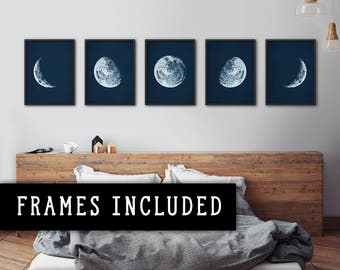 Moon phases, Framed art set, Moon posters, Moon phases prints, Moon phases wall art, Moon prints, Moon posters, Astronomy prints, Wall decor