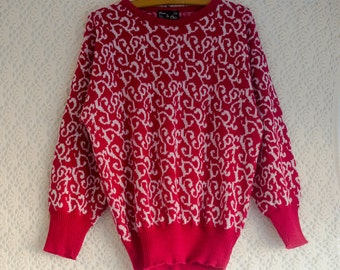 Vintage 1980s pink and white baroque filigree pattern sweater/jumper - Medium