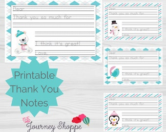 Winter Friends Animal Printable Kids Thank You Note Cards ~ Instant Download ~ Writing Lines for Beginning Writers (5.5x8.5 inches)