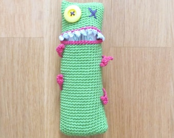 Door-tampons with applicator, Monster, green hand crochet by fairy M1 Creations