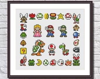 Super Mario Sampler -Retro Video Game Super Mario - Cross Stitch Pattern PDF Instant Download