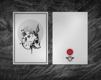 Skull Tattoo Flash Art Print. Card 10 x 15 cm