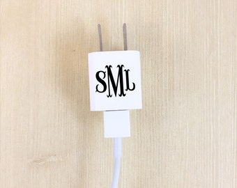 iPhone Monogrammed Charger - Charger Sticker Monogram - Custom iPhone Charger - Personalized Charger Decal - iPhone Charger Vinyl - Decal