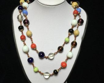Vintage Necklace-Glass beads-Art Deco-Flapper-colored-red-blue-green-white-black-harlequin-elegant-long-gift