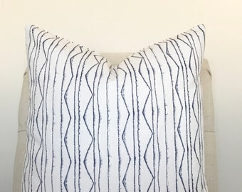 White and Navy Pillow Cover