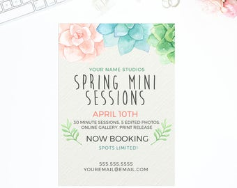 Spring Mini Session Template  | Photography Template | Photographer Resources | No Photo | Marketing Board