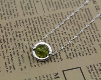 natural prehnite stone Sterling Silver necklace