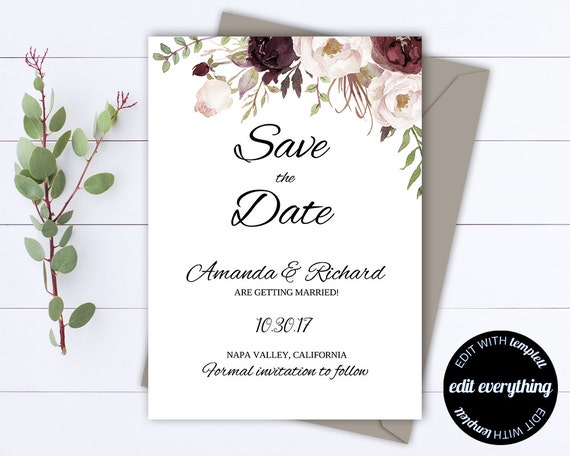 floral save the date wedding template floral wedding save