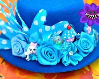 Blue Puppy Decora Hat, Fairy-kai Hat, Lolita Mini Top Hat