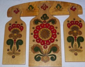 Vintage khokhloma style wooden cutting boards
