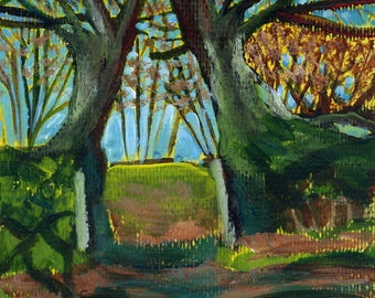 Tree Painting. Garden gateway. Sunlight. Shadows. Cornish art.