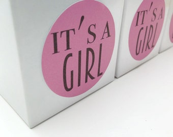 It's a girl stickers, It's a girl favour labels, baby shower favour stickers, girl baby shower, shower favour labels, 044