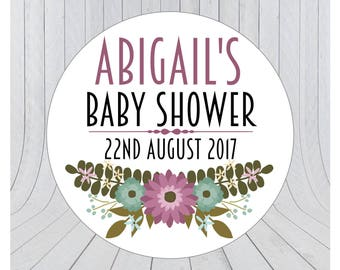 Baby shower stickers, baby shower favour stickers, Baby shower labels, personalised baby shower stickers, 082