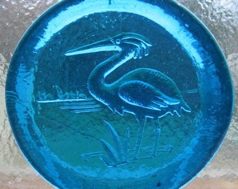 Cape Cod Blue Heron Pressed Art Glass Suncatcher Ornament