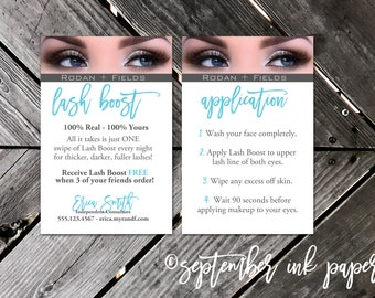 Rodan + Fields Lash Boost Instructions Promo and Instruction Card