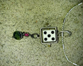 Beaded dice silvertone charm chain necklace