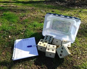 Yardzee, Farkle, Outdoor Games, Games with Scorecard, Dice Games, Housewarming Gifts, Customized Yard Games, Wooden Dice