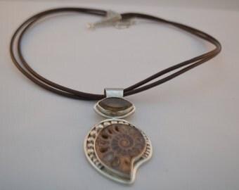 Ammonite & Quartz Pendant