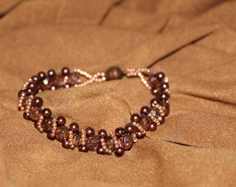 Copper-elegant beaded right angle weave  bracelet