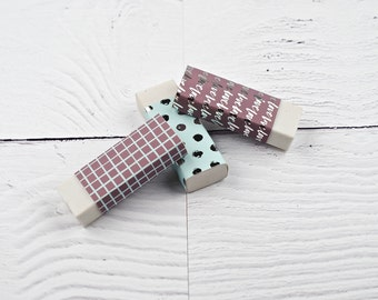 Stationery Lover, Set of 3, Cute Eraser, Back to School, Stocking Fillers, Pencil Eraser, Pencil Rubbers, Fun Stationery