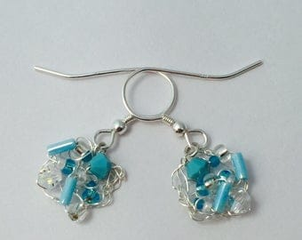 Fine Silver knitted Square Earrings with Turquoise and Crystal Swarovski Crystals