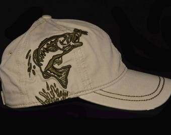 Light wheat fishing hat with embroidered 3d Bass scene design with name personalization
