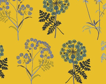 Yellow floral Quilting fabric, 100% cotton, inprint Jane Makower -Cowslip. 44 inch wide, sewing fabric, quilt fabric