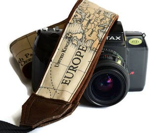 Handmade strap/ World Map/ Camera Strap/ Adjustable/ Photography/ Travel/ Traveler/ Classic/ Original/ Custom/ Camera accessory/ Gift idea