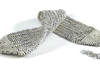 Girlfriend Gift for Wife, Silver Cuff Bracelet, Beaded Bracelet, Beaded Jewelry, Handmade Jewelry, Silver Bracelet, Statement Bracelet