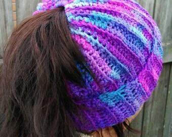 Crochet Ponytail Beanie/Messy Bun Beanie