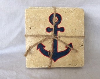 Hand Painted Navy Blue & Red Anchor Coaster