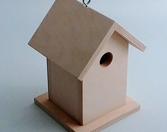 Qty 4 Birdhouses - Unfinished Birdhouse - Functional and Decorative Birdhouse - DIY Birdhouse - Paint your own Birdhouse