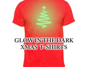 Glow In The Dark XMAS T-Shirt | Christmas Tree Glow Tee's