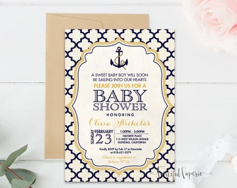 Nautical Baby Boy Shower Invitation - Anchor Invite - Whimsical Invitation - Printable Baby Shower Invitation - Moroccan Pattern Invite