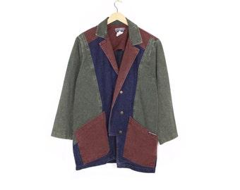 colorblock denim chore coat - vintage 80s / 90s - western - workwear
