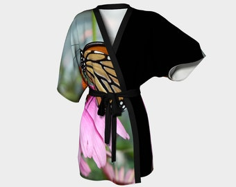 Monarch Butterfly, Kimono Robe, Dressing Gown, Bridesmaid Robe, Coverup, Spa Robe, Swimsuit Coverup, Robe, Chiffon Kimono, Butterfly Robe