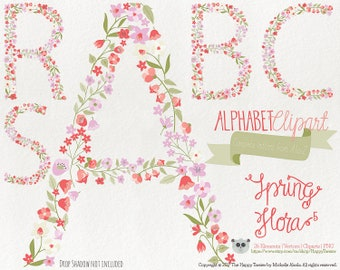 Flowers Clipart 80% OFF! - Alphabet Clipart Letters Spring Flora 5 Flowers Floral Vector Graphics PNG Coral Pink