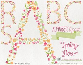 Flowers Clipart 80% OFF! - Alphabet Clipart Letters Spring Flora 6 Flowers Floral Vector Graphics PNG Orange Pink