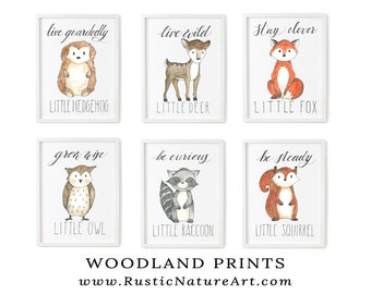 Woodland Nursery Prints   Woodland Nursery Wall Art Set of 6   Woodland Animals   Woodland Creatures. Woodland Fox
