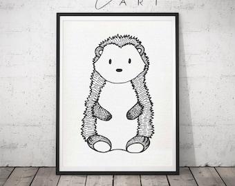 Black&White Hedgehog print for your nursery, Modern Nursery Animals, Animal Wall Art, Kids Room Decor, Contemporary Art,Baby Room gift