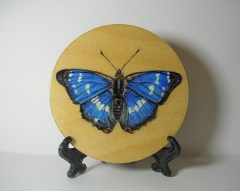 Purple Emperor Butterfly On A Wooden Disk - 10cm - Original Painting - Acrylic Painting - Decorative Ornament  With Stand