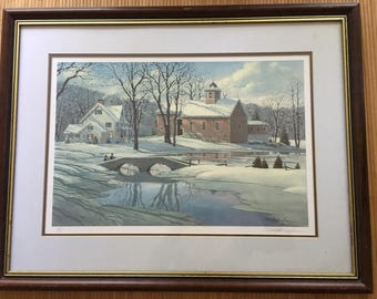 "Vintage 80's Paul MacWilliams, hand signed and numbered 740/975 limited edition litho print ""Winter Reflections"" Snowy country scene."