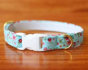 Blossom Cat Collar, Mint Flower Cat Collar, Tiny Floral Cat Collar, Mint Blue Breakaway Cat Collar, Beautiful Cotton Cat Collar