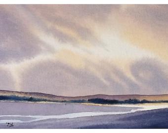 Original watercolor painting, seascape, sunset